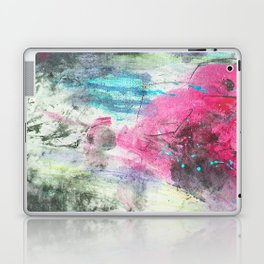 Grunge magenta teal hand painted watercolor Laptop & iPad Skin