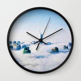 Dubai skyline topped in morning clouds landscape Wall Clock