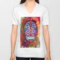 sugar skull V-neck T-shirts featuring Sugar Skull by oxana zaika