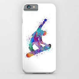 Boy Snowboarding Trick Colorful Winter Artwork iPhone Case