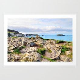 Carrick-a-rede coast Art Print