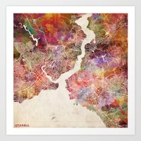 istanbul Art Prints featuring Istanbul by MapMapMaps.Watercolors
