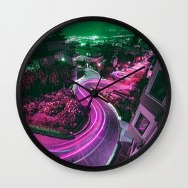 Purple Lombard Street San Francisco Wall Clock