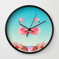 flamingos Wall Clocks featuring Flamingos by Juliana Zimmermann