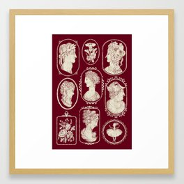 Red Cameos Framed Art Print