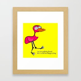 Pink Bird Not Perfect Framed Art Print