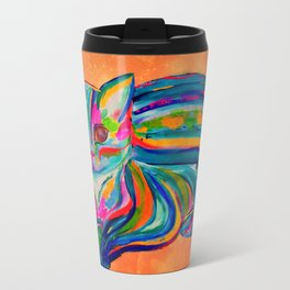 Hypnotic Rainbow Cat - Orange Background Travel Mug