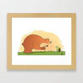 The bear and the sad turtle Framed Art Print