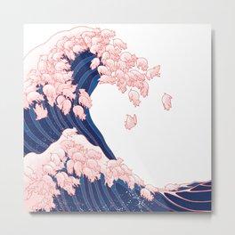 Pink Pigs Waves in White Metal Print