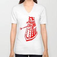 dalek V-neck T-shirts featuring Dalek by InvaderDig