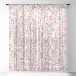 Happy Pastel Square Pattern Sheer Curtain