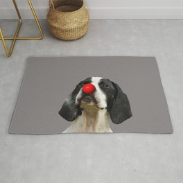 Pointer dog with red clown nose Rug