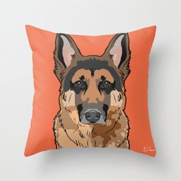 German Shepherd Art Poster Dog Icon Series by Artist A.Ramos. Designed in Bold Colors Throw Pillow