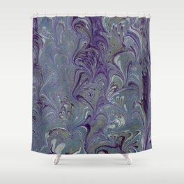 Purple, Blue, & Green Marbled Shower Curtain