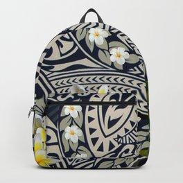 Traditional Hawaiian Tapa and Plumeria Backpack