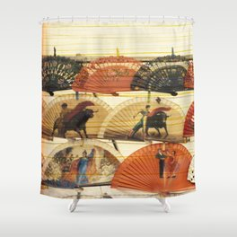 Spanish Scratched Fans Shower Curtain