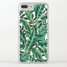 Tropical Glam Banana Leaf Print Clear iPhone Case