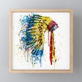 Native American Feather Headdress Framed Mini Art Print