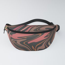 BYTHEBYE coral pink brown black abstract paths design Fanny Pack