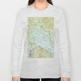 Lake Winnipesaukee Map (1986) Long Sleeve T-shirt