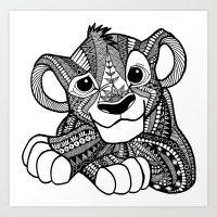 simba Art Prints featuring Zentangle Simba by ElFineLines