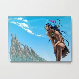 Archer elf is looking at the sky Metal Print