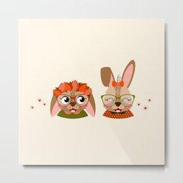 Jumelles lapines Metal Print
