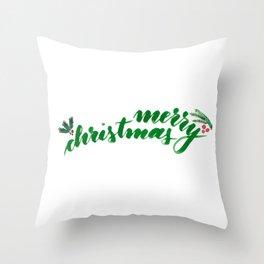 Merry Christmas - green Throw Pillow