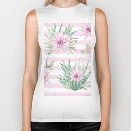 Rose Stripe Succulents - Pink and Mint Green Cactus Pattern Biker Tank