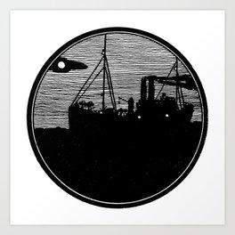 Silent boat. Art Print