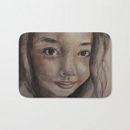 Watercolor portrait pretty asian girl Bath Mat