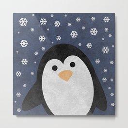 Christmas Penguin Marble Metal Print