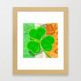 Classic Irish Shamrock - Vintage Collage Art Framed Art Print