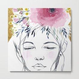 Flowers In Her Hair Study 001 Metal Print