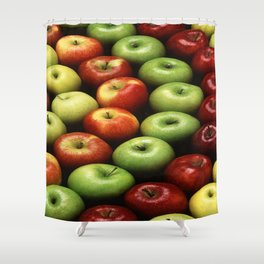 Red and Green Apples Displayed In A Pattern Shower Curtain