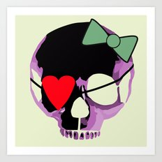Pink Skull with heart and bow Art Print