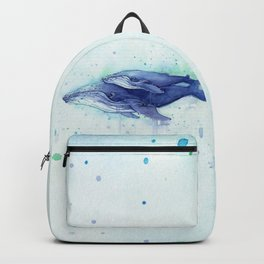 Humpback Whale Watercolor Mom and Baby Painting Whales Sea Creatures Backpack
