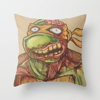 ninja turtle Throw Pillows featuring zombie ninja turtle by mileshustonart