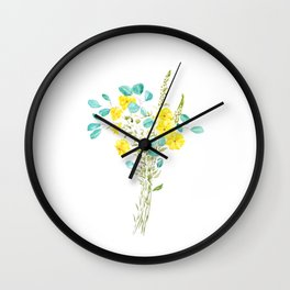 yellow flower and green eucalyptus leaf Wall Clock