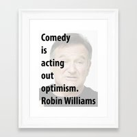 robin williams Framed Art Prints featuring Robin Williams by panamashirt