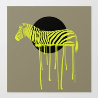 zebra Canvas Prints featuring Zebra by ministryofpixel