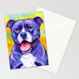 Colorful American Pitbull Terrier Dog Stationery Cards