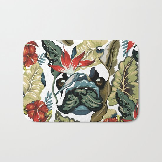 Tropical Frenchie Bath Mat