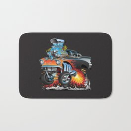 Classic hot rod 57 gasser drag racing muscle car cartoon Bath Mat