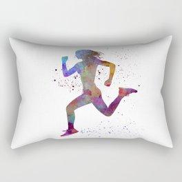Woman runner running jogger jogging silhouette 01 Rectangular Pillow