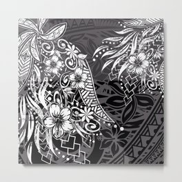 Slate Polynesian Tribal Threads Grunge Metal Print