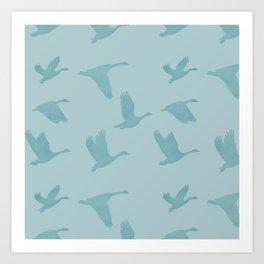 Flying Birds Pattern | Blue Mood Art Print