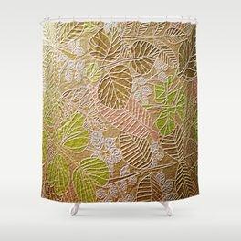 Embossed Golden Leaf Shower Curtain