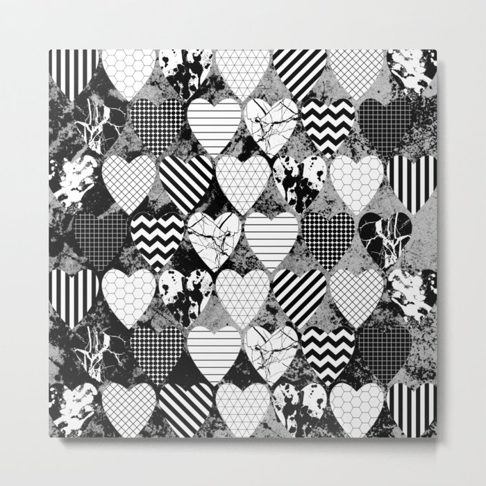 Textured Black And White Hearts - Abstract, geometric pattern Metal Print