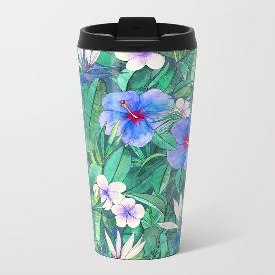 White Bird of Paradise & Blue Hibiscus Tropical Garden Metal Travel Mug